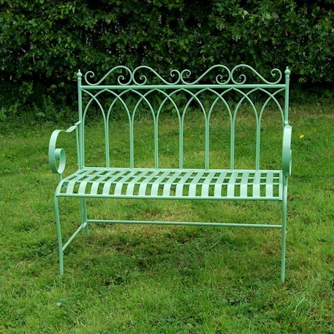 Vintage Green Metal Garden Bench