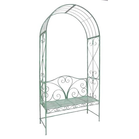 Green Metal Garden Arbour Bench