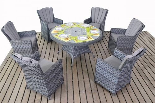 Platinum rattan round table and 6 chairs set