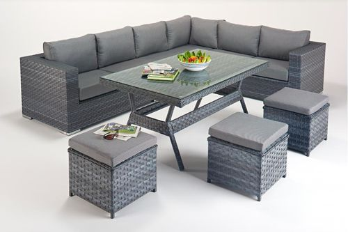 Platinum Right Grey Rattan Corner Sofa with Dining table set