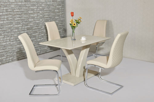 Cream high gloss dining table and 4 cream chairs