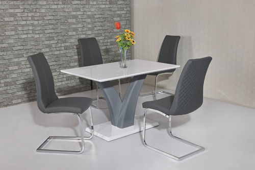 White and grey high gloss dining table and 4 grey chairs