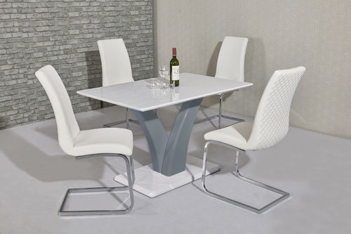 White / grey high gloss dining table and 4 white chairs