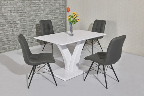 White high gloss dining table and 4 grey padded chairs