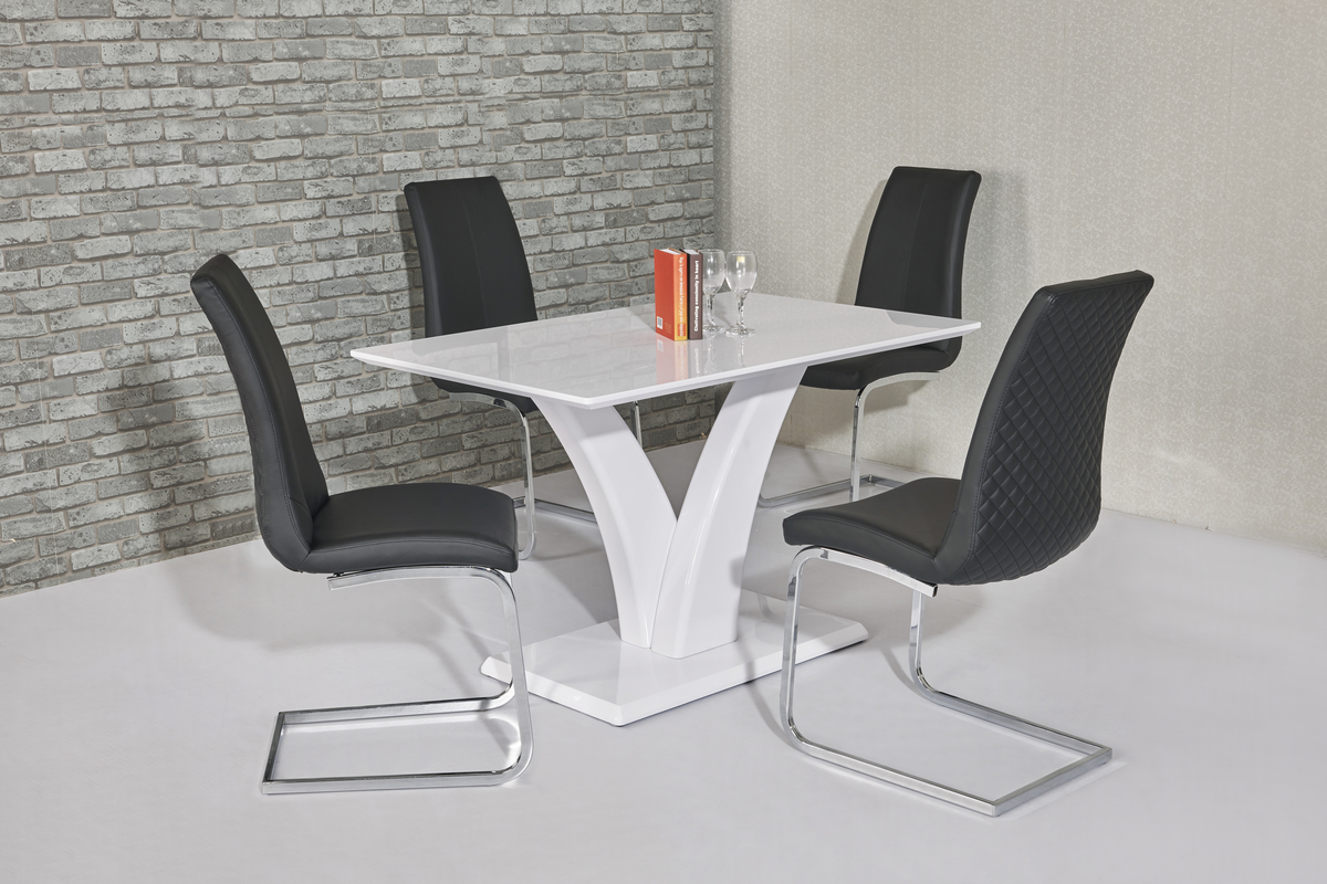 White high gloss dining room table and 4 black chairs ebay for White high gloss dining table