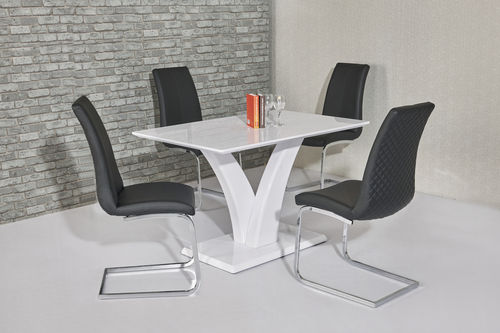 White high gloss dining room table and 4 black chairs