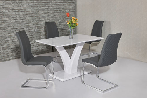 White glossy dining table and 4 grey chairs