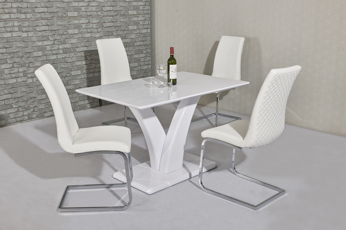 White high gloss dining table 4 seater set homegenies for Dining table set 4 seater