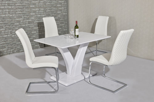 White high gloss dining table 4 seater set