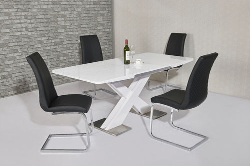 Extending white high gloss dining table and 6 black chairs