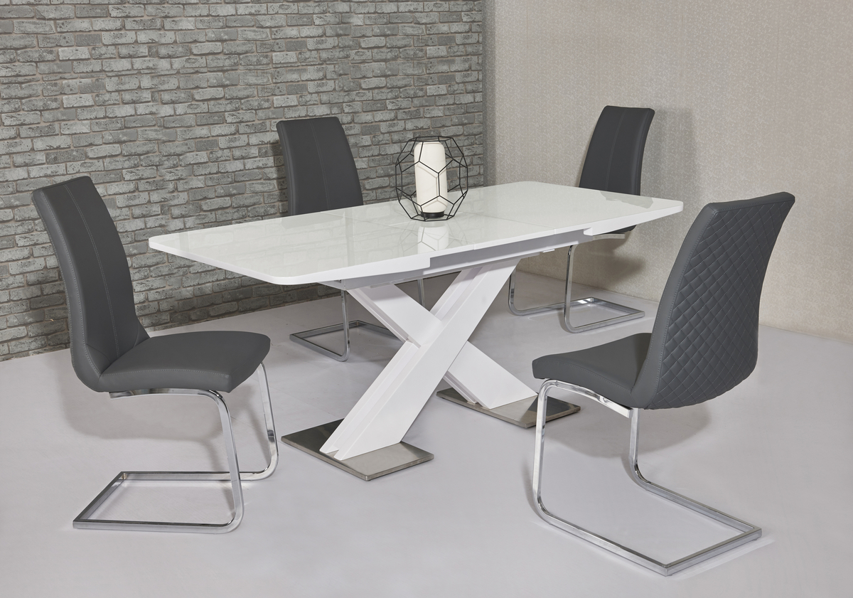 Extending white gloss dining table 6 grey chairs homegenies - White extending dining table and chairs ...