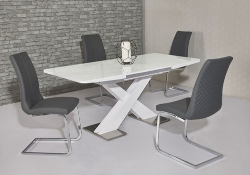 Extending white high gloss dining table and 6 Grey chairs