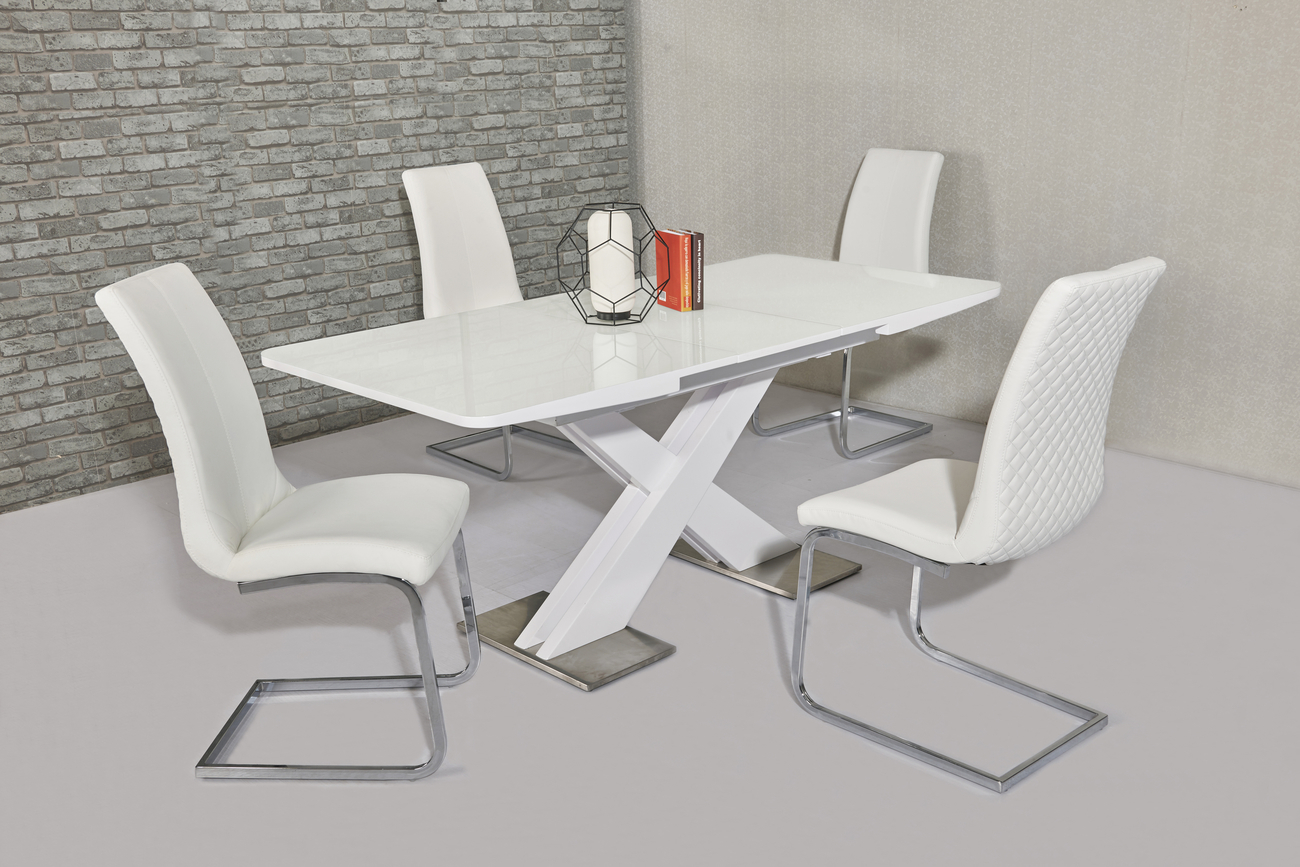 Extending white gloss dining table 6 white chairs homegenies - White extending dining table and chairs ...