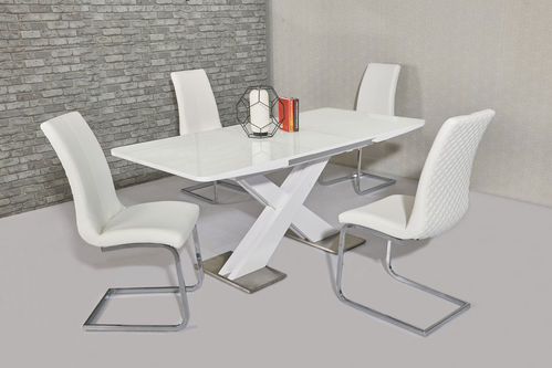 Extending white high gloss dining table and 6 white chairs