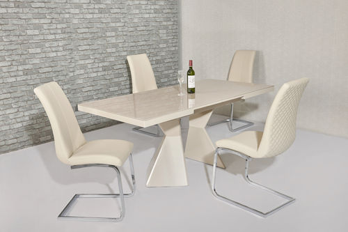 Extending cream glass high gloss dining table and 6 cream chairs