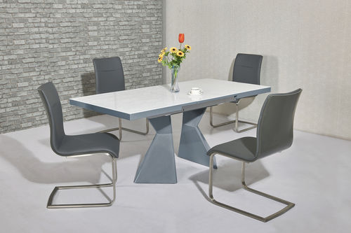 Grey high gloss white glass dining table and 4 chairs