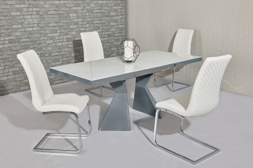White glass grey high gloss dining table and 4 white chairs