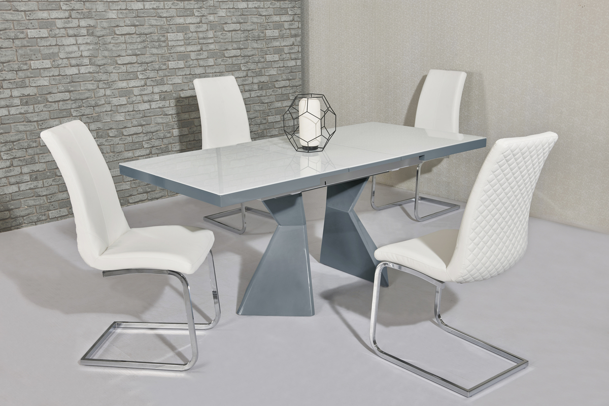 White glass grey gloss dining table 6 white chairs for White dining table 6 chairs