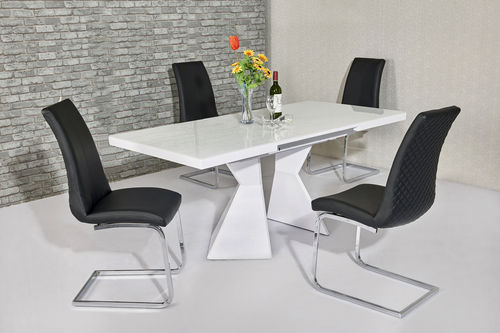 White glass and high gloss dining table and 4 black chairs