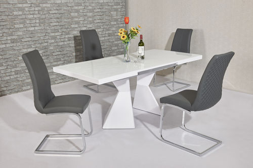 White glass & high gloss dining table and 4 grey chairs