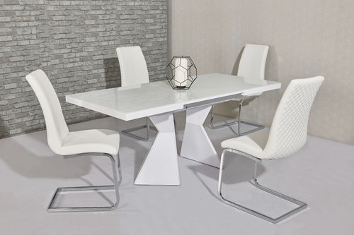 White glass & high gloss dining table and 4 white chairs