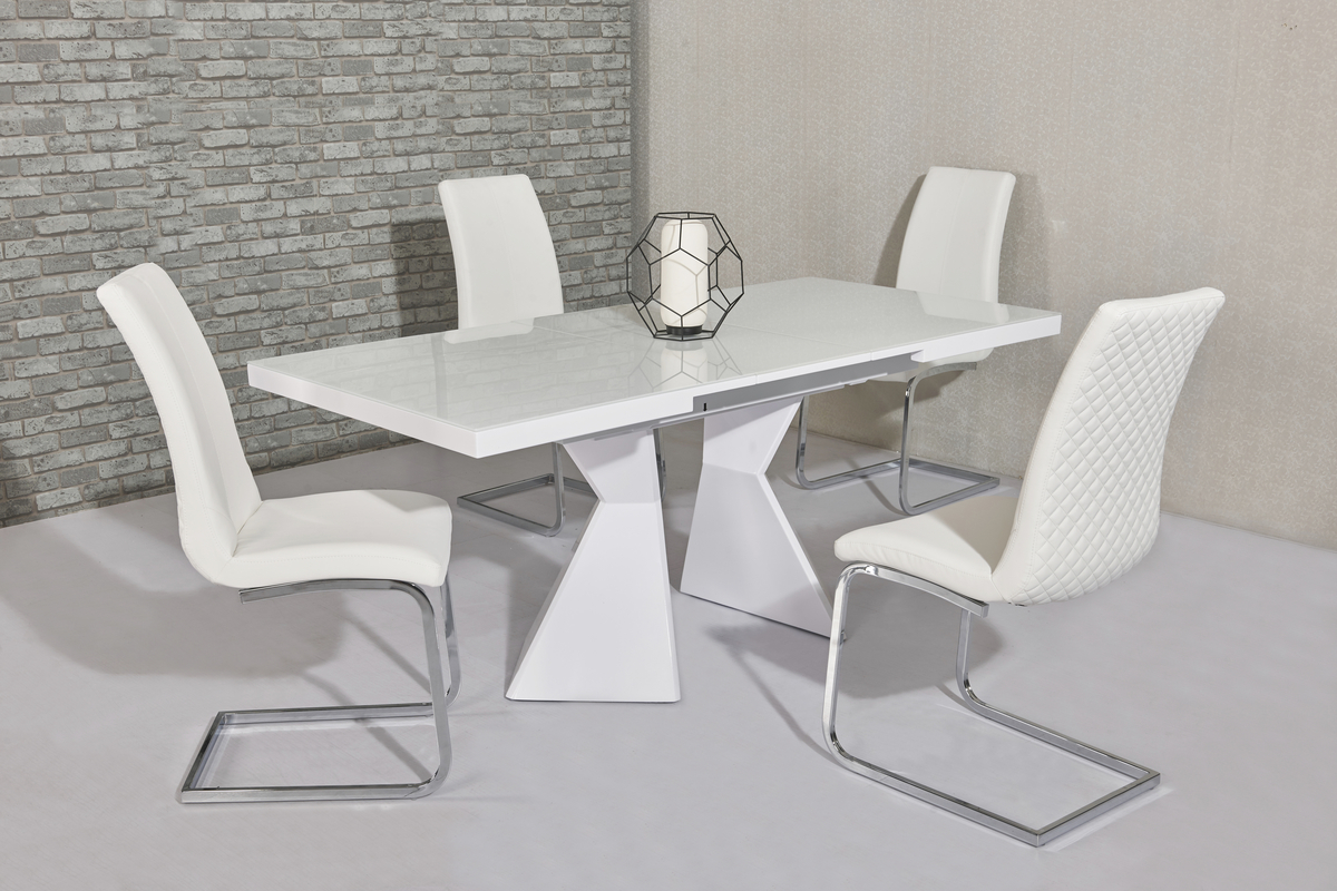 White Glass & Gloss Dining Table & 6 White Chairs