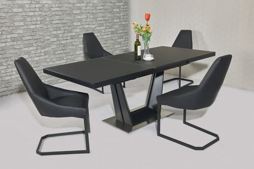 Matt black extending glass dining table and 6 black chairs