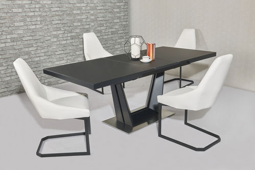 Matt black extending glass dining table and 6 white chairs