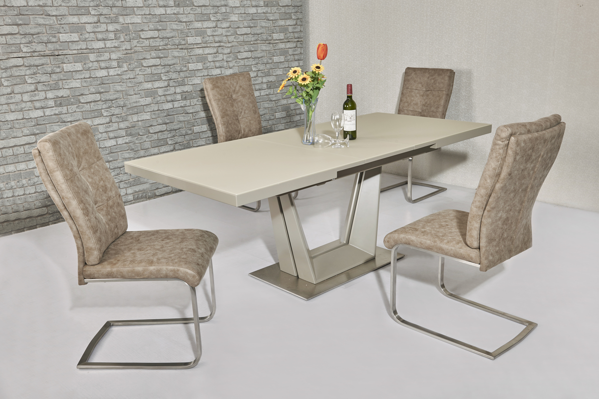 Matt Cream glass dining table \u0026 6 cream chairs  Homegenies