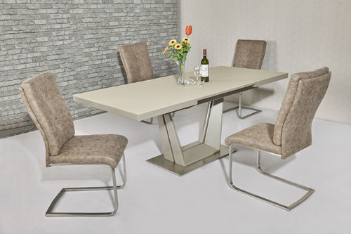 Matt Cream glass dining table and 6 cream fabric chairs