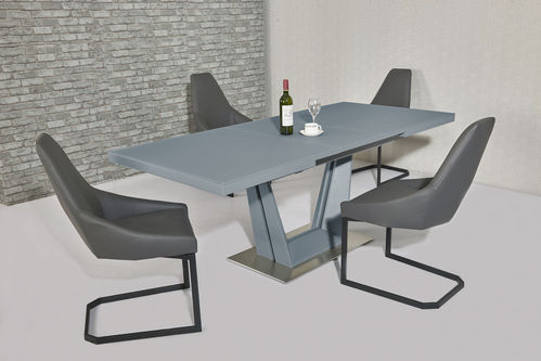 Matt Grey glass dining table and 6 grey chairs