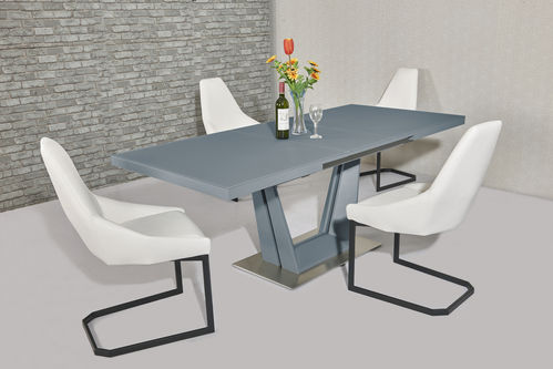 Matt Grey glass dining table and 6 white chairs