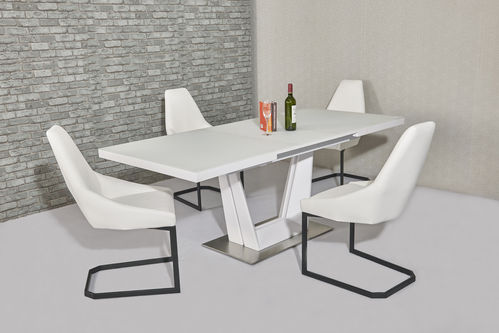 Matt white glass dining table and 6 white chairs