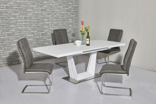 Matt white glass dining table and 6 chairs