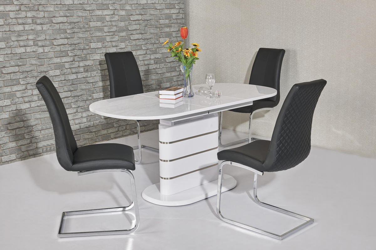 Small Oval White High Gloss Dining Table Amp 4 Chairs