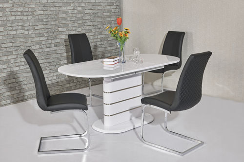Small oval white high gloss dining table and 6 chairs
