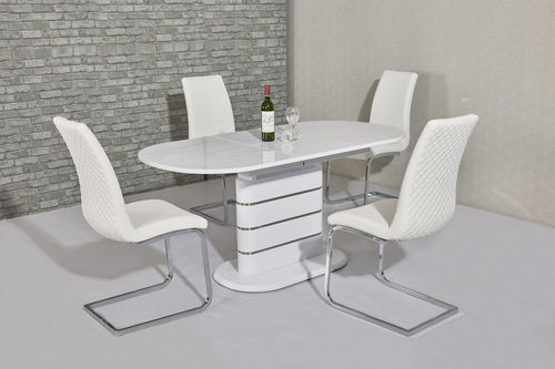 Small oval white high gloss dining table and 6 white chairs