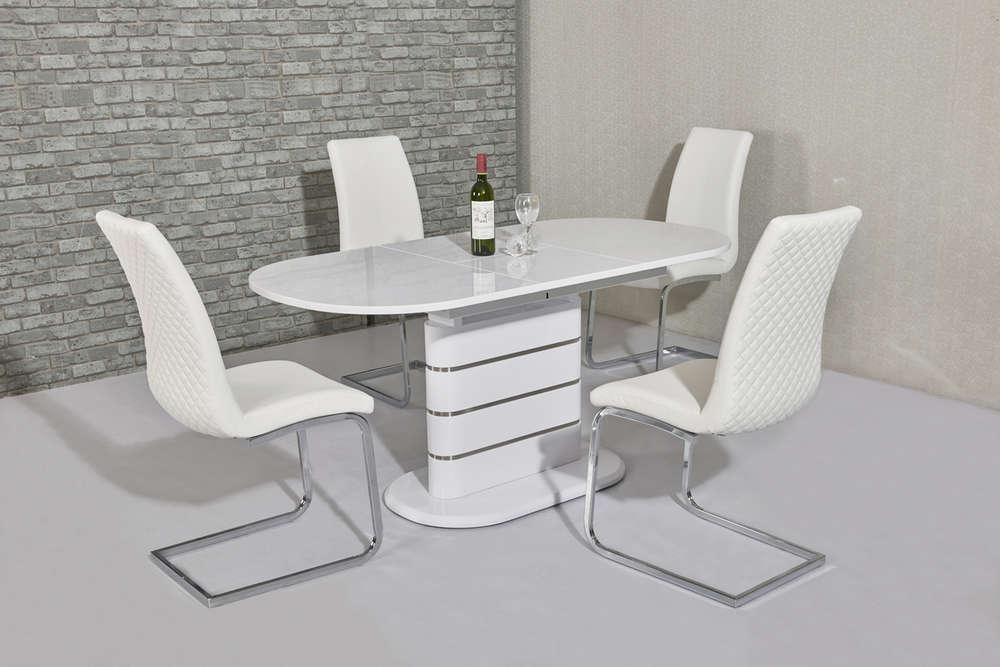 small oval white gloss dining table 6 white chairs homegenies rh homegenies co uk  white oval kitchen table and chairs