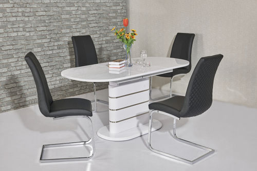 200cm Oval white high gloss dining table and 8 black chairs