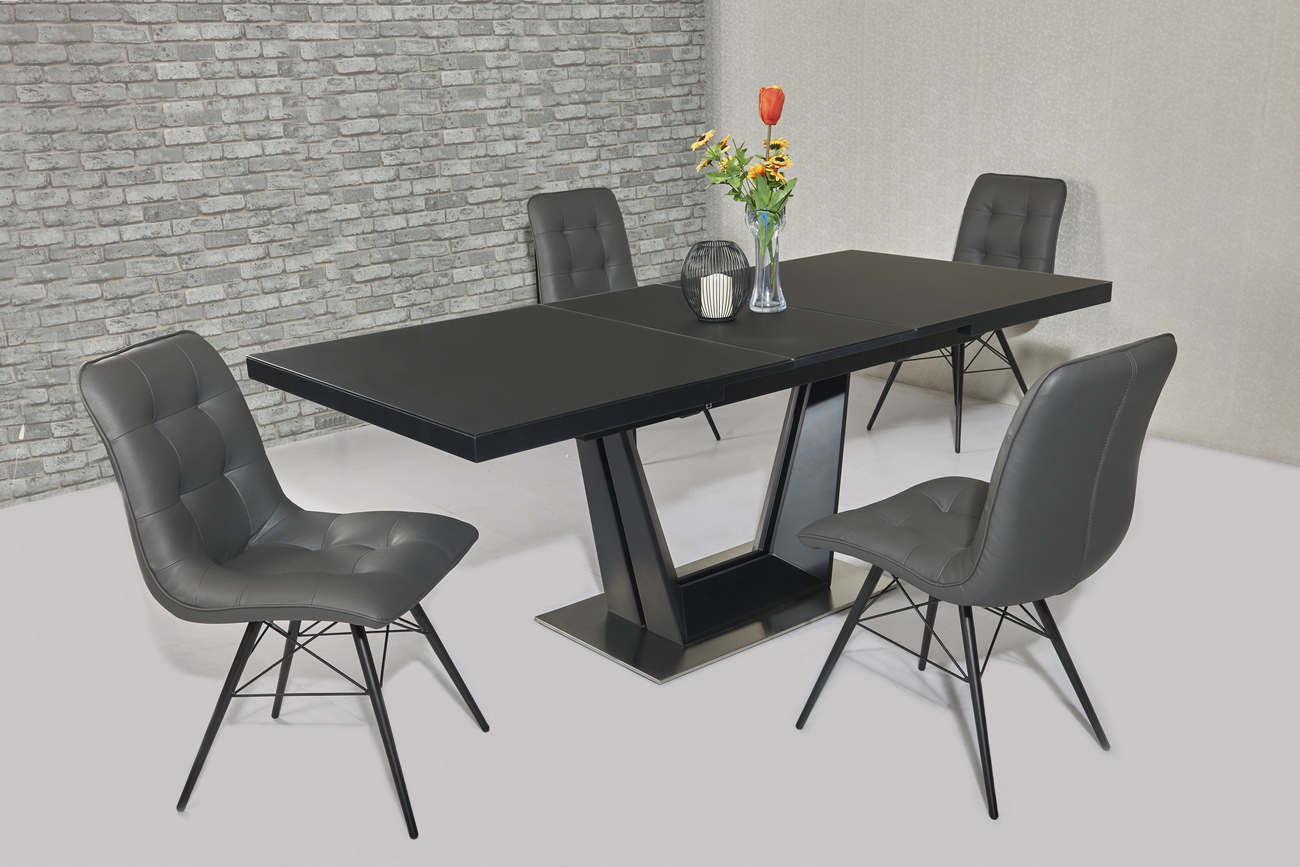 Matt black glass dining table and 8 grey chairs homegenies for Black glass dining table