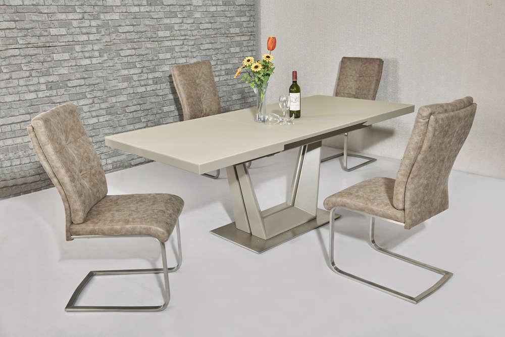 Matt Cream Glass Dining Table And 8 Cream Fabric Chairs