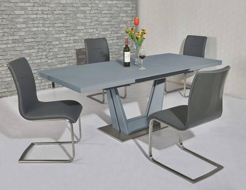 Matt grey glass dining table and 8 grey high gloss back chairs