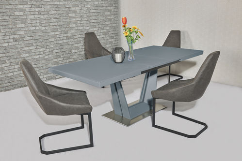 Matt grey glass dining table and 8 Fabric Chairs