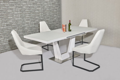 Matt white glass dining table and 8 white chairs