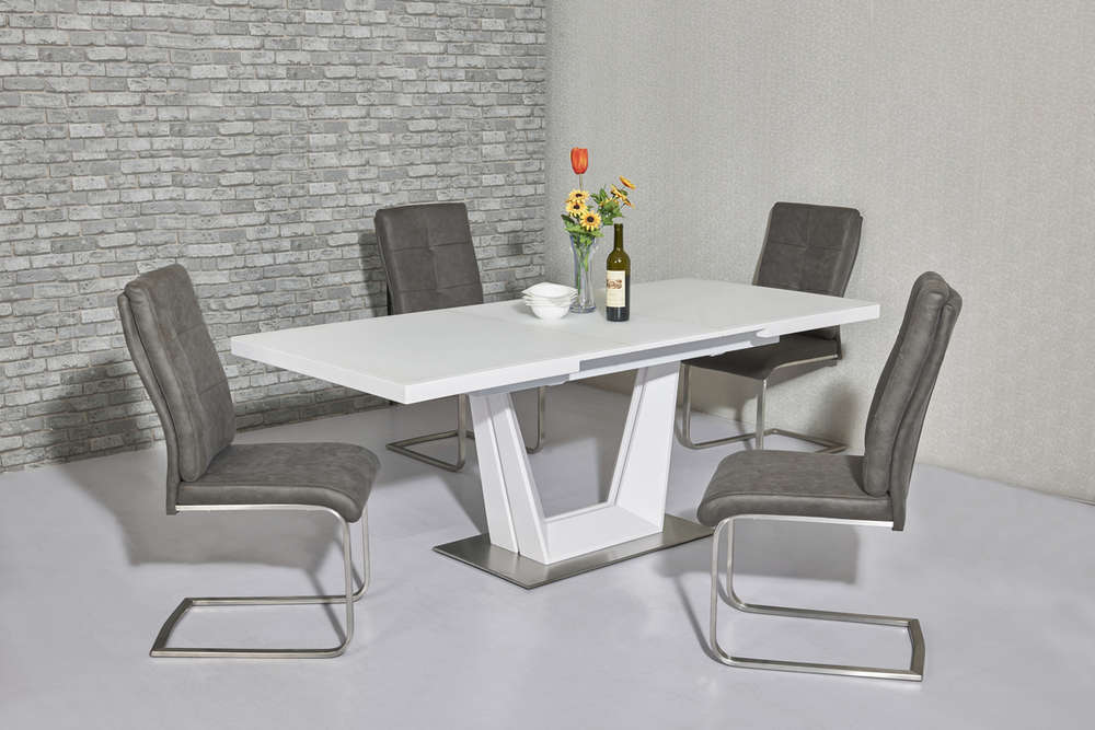 matt white glass dining table and 8 chairs - White Glass Dining Table