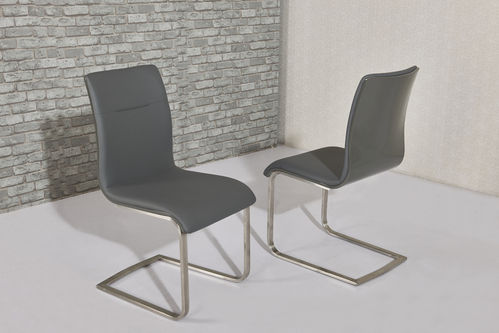 Grey high gloss faux leather dining chairs