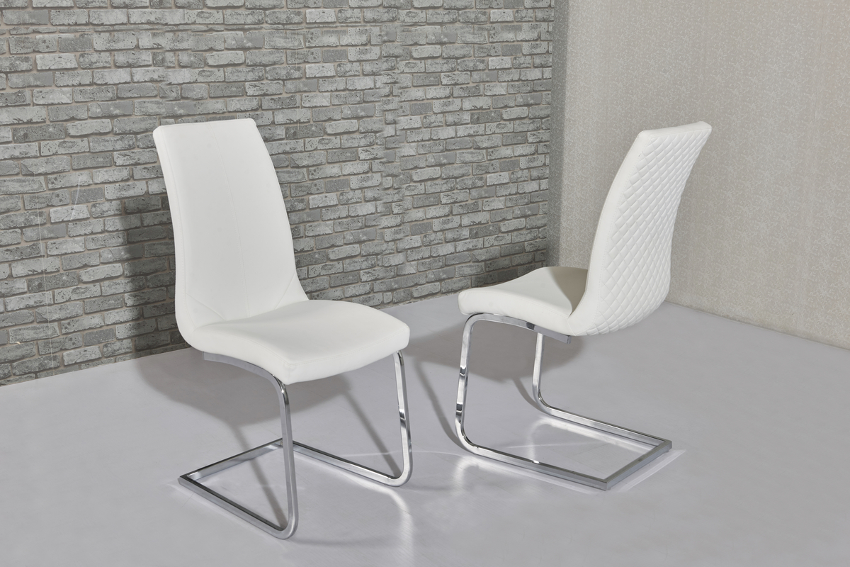 White Faux Leather Dining Chairs With Pattern Backs Homegenies