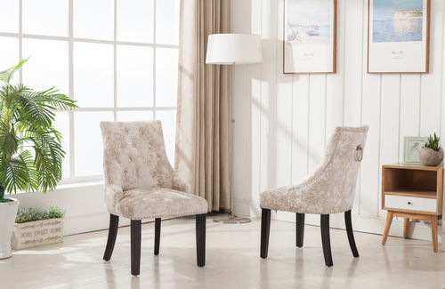 Cream velvet dining chairs
