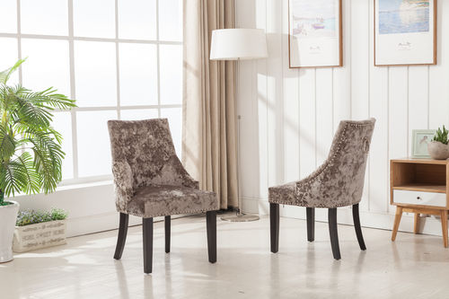 Silver velvet dining chairs