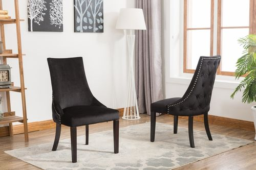 Black soft velvet dining chairs